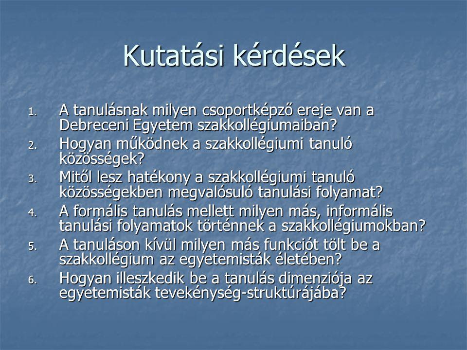 Kutatási kérdések 1. A tanulásnak milyen csoportképző ereje van a Debreceni Egyetem szakkollégiumaiban? 2. Hogyan működnek a szakkollégiumi tanuló köz