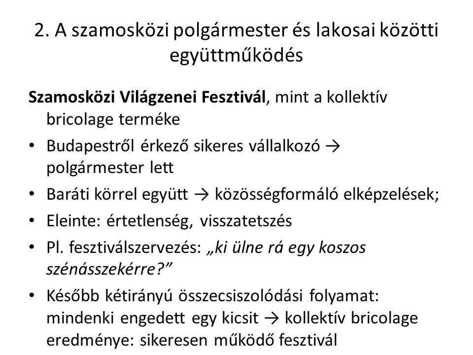 2. A szamosközi polgármester és lakosai közötti együttműködés Szamosközi Világzenei Fesztivál, mint a kollektív bricolage terméke Budapestről érkező s
