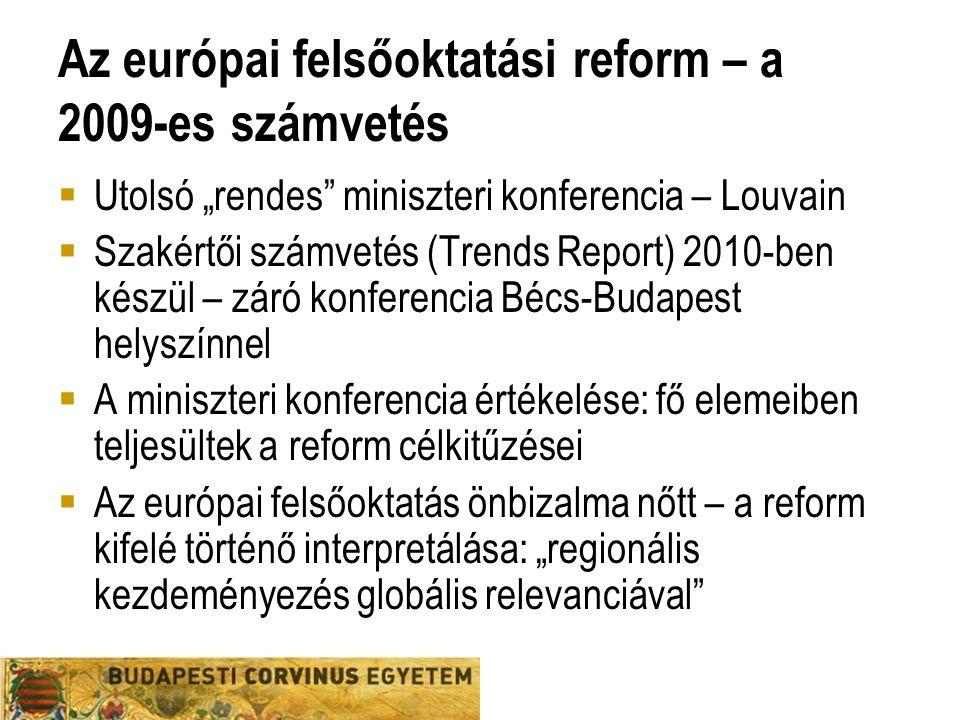 """Az európai felsőoktatási reform – a 2009-es számvetés  Utolsó """"rendes miniszteri konferencia – Louvain  Szakértői számvetés (Trends Report) 2010-ben készül – záró konferencia Bécs-Budapest helyszínnel  A miniszteri konferencia értékelése: fő elemeiben teljesültek a reform célkitűzései  Az európai felsőoktatás önbizalma nőtt – a reform kifelé történő interpretálása: """"regionális kezdeményezés globális relevanciával"""