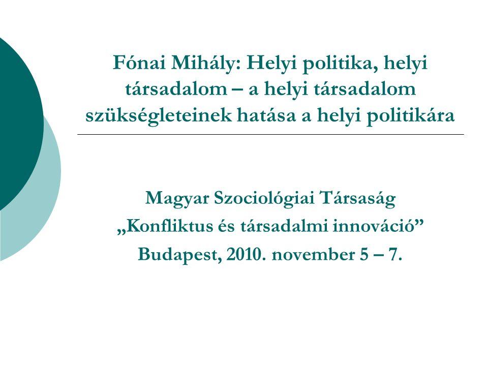 """Fónai Mihály: Helyi politika, helyi társadalom – a helyi társadalom szükségleteinek hatása a helyi politikára Magyar Szociológiai Társaság """"Konfliktus és társadalmi innováció Budapest, 2010."""