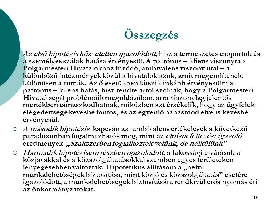 18 Összegzés  Az első hipotézis közvetetten igazolódott, hisz a természetes csoportok és a személyes szálak hatása érvényesül. A patrónus – kliens vi