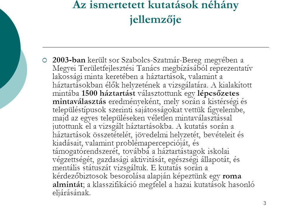 3 Az ismertetett kutatások néhány jellemzője  2003-ban került sor Szabolcs-Szatmár-Bereg megyében a Megyei Területfejlesztési Tanács megbízásából rep