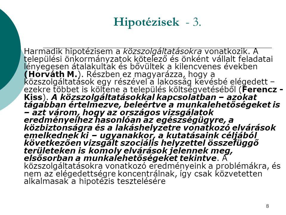 8 Hipotézisek - 3.  Harmadik hipotézisem a közszolgáltatásokra vonatkozik. A települési önkormányzatok kötelező és önként vállalt feladatai lényegese