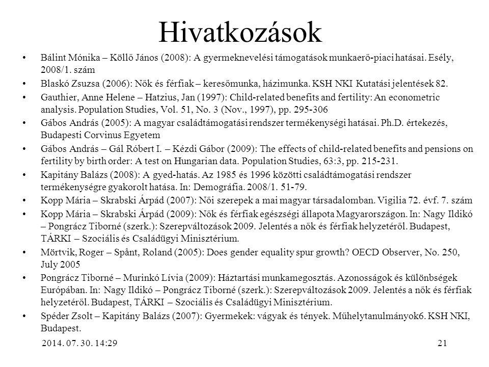 2014. 07. 30. 14:31 Hivatkozások Bálint Mónika – Köllő János (2008): A gyermeknevelési támogatások munkaerő-piaci hatásai. Esély, 2008/1. szám Blaskó