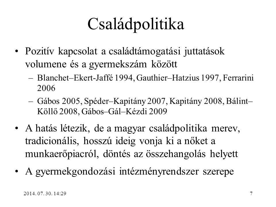 2014. 07. 30. 14:31 Családpolitika Pozitív kapcsolat a családtámogatási juttatások volumene és a gyermekszám között –Blanchet–Ekert-Jaffé 1994, Gauthi