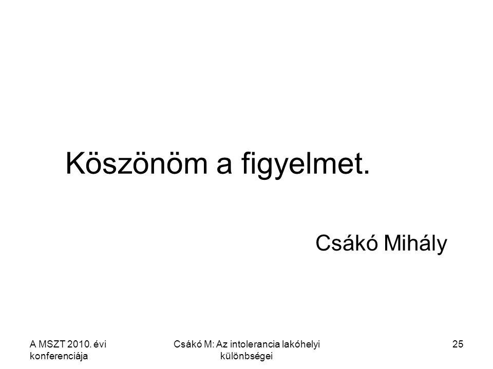 A MSZT 2010. évi konferenciája Csákó M: Az intolerancia lakóhelyi különbségei 25 Köszönöm a figyelmet. Csákó Mihály