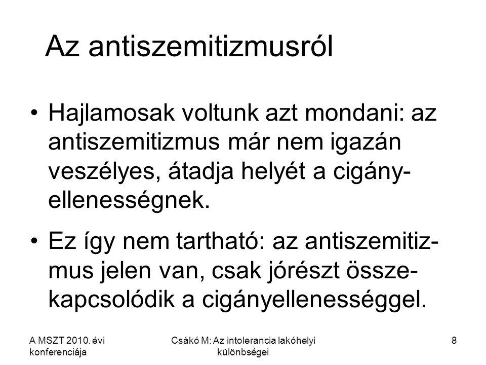 A MSZT 2010. évi konferenciája Csákó M: Az intolerancia lakóhelyi különbségei 8 Az antiszemitizmusról Hajlamosak voltunk azt mondani: az antiszemitizm