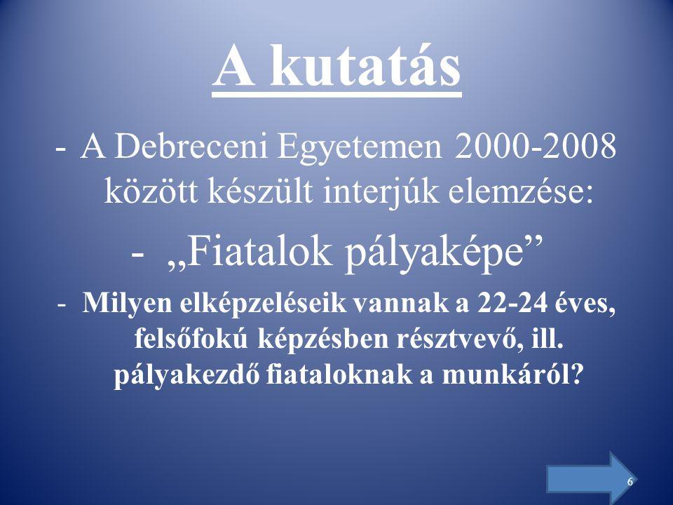 """A kutatás -A Debreceni Egyetemen 2000-2008 között készült interjúk elemzése: - """"Fiatalok pályaképe -Milyen elképzeléseik vannak a 22-24 éves, felsőfokú képzésben résztvevő, ill."""