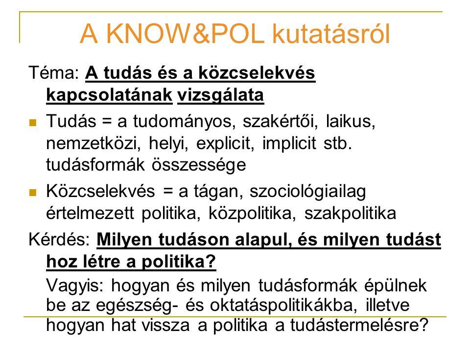 A KNOW&POL kutatásról Téma: A tudás és a közcselekvés kapcsolatának vizsgálata Tudás = a tudományos, szakértői, laikus, nemzetközi, helyi, explicit, implicit stb.