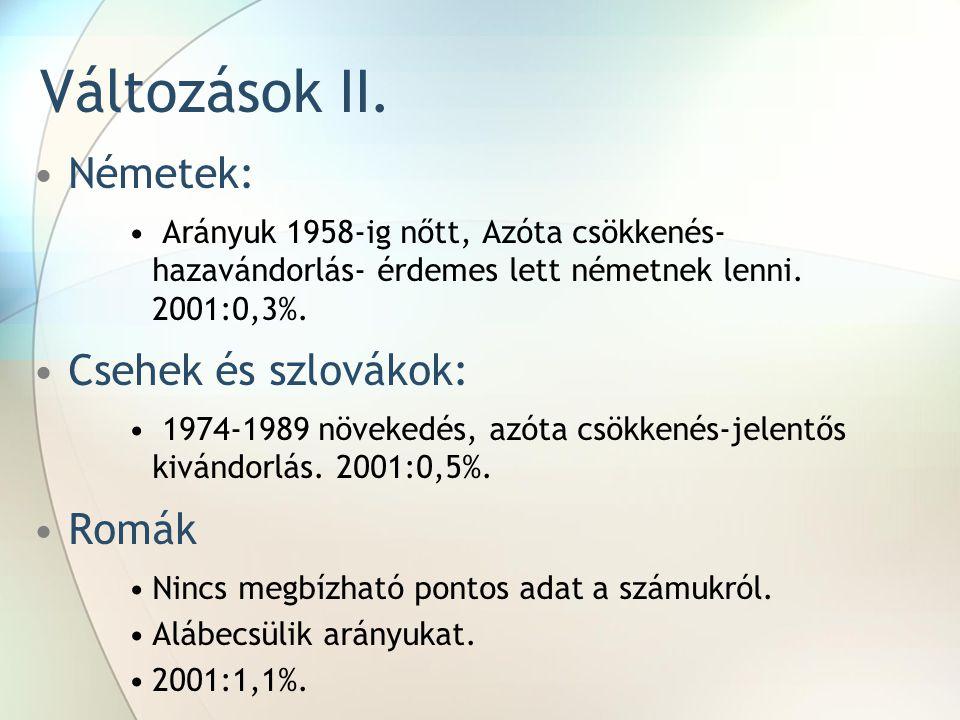 Változások II. Németek: Arányuk 1958-ig nőtt, Azóta csökkenés- hazavándorlás- érdemes lett németnek lenni. 2001:0,3%. Csehek és szlovákok: 1974-1989 n