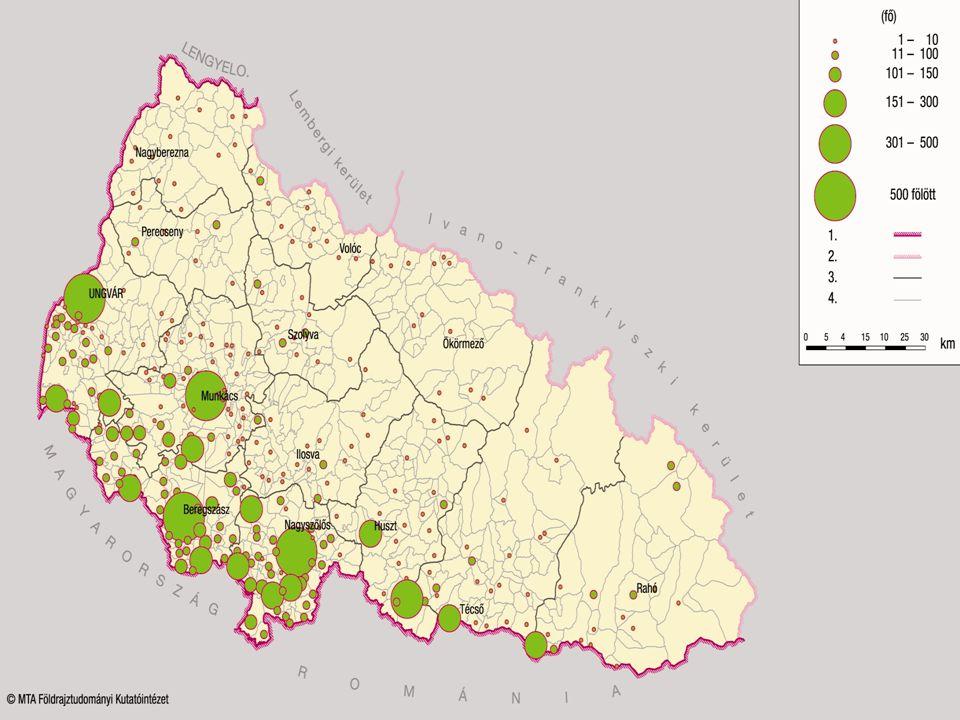 Kárpátalja magyar lakosságának járásonkénti arányszámai