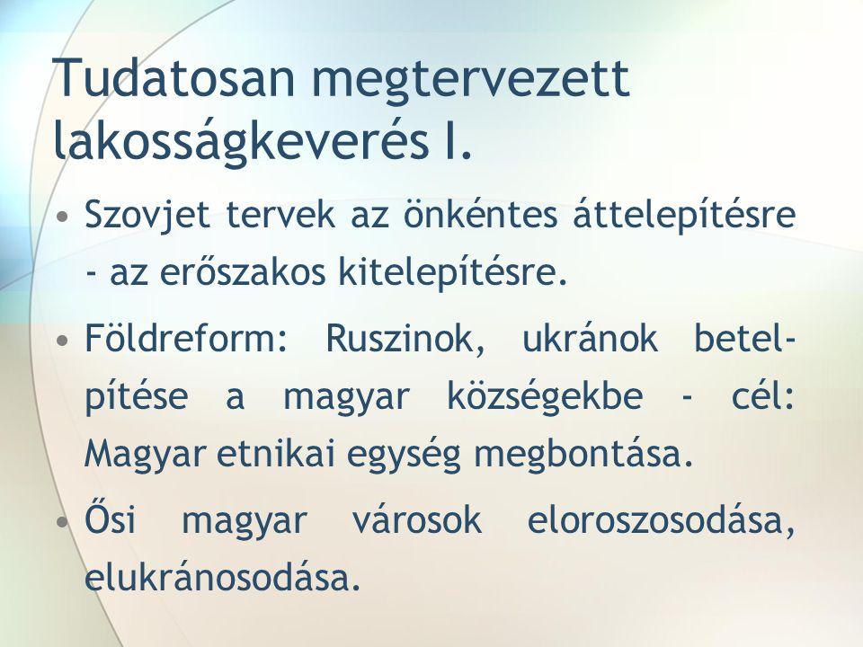 """Magyarok Kárpátalján Magyarok aránya 1946-ban a legminimálisabb: Okok: (""""malenykij robot , megfélemlítések, háborús veszteség.) 1989- óta folyamatos csökkenés, szülőföld elhagyása)."""