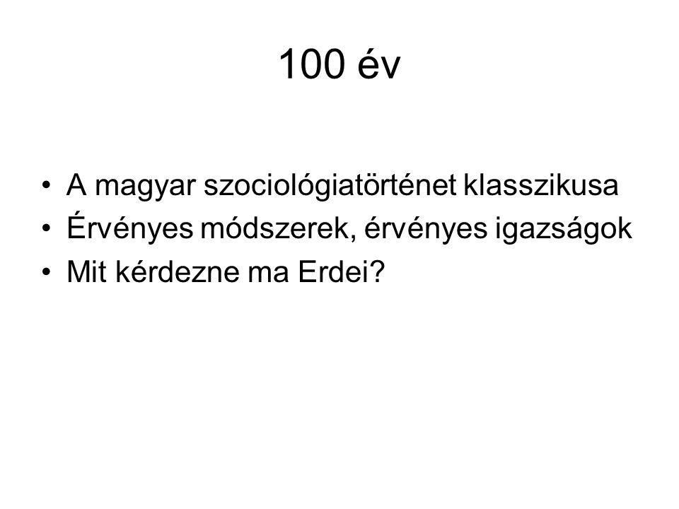 100 év A magyar szociológiatörténet klasszikusa Érvényes módszerek, érvényes igazságok Mit kérdezne ma Erdei