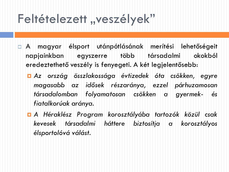 """Feltételezett """"veszélyek""""  A magyar élsport utánpótlásának merítési lehetőségeit napjainkban egyszerre több társadalmi okokból eredeztethető veszély"""