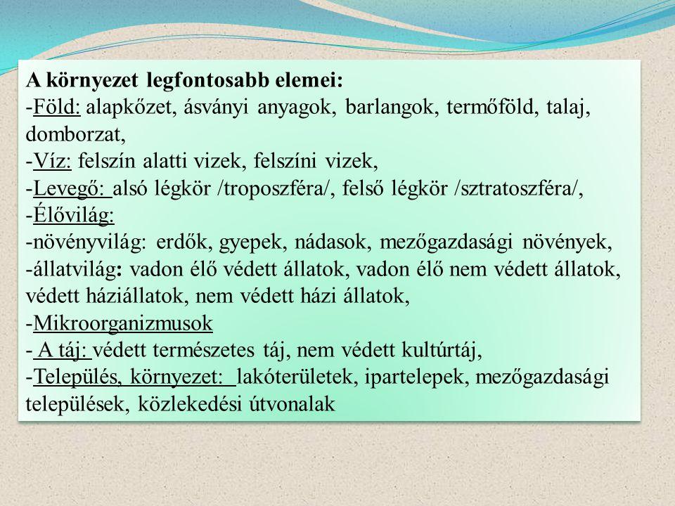 A környezet legfontosabb elemei: -Föld: alapkőzet, ásványi anyagok, barlangok, termőföld, talaj, domborzat, -Víz: felszín alatti vizek, felszíni vizek