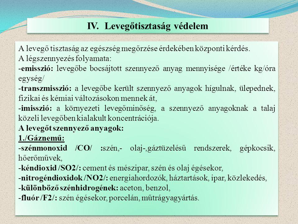 IV. Levegőtisztaság védelem A levegő tisztaság az egészség megőrzése érdekében központi kérdés. A légszennyezés folyamata: -emisszió: levegőbe bocsájt