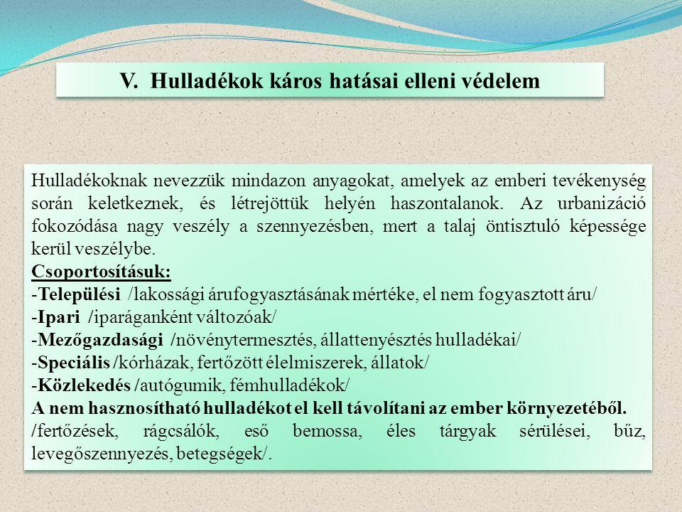 V. Hulladékok káros hatásai elleni védelem Hulladékoknak nevezzük mindazon anyagokat, amelyek az emberi tevékenység során keletkeznek, és létrejöttük