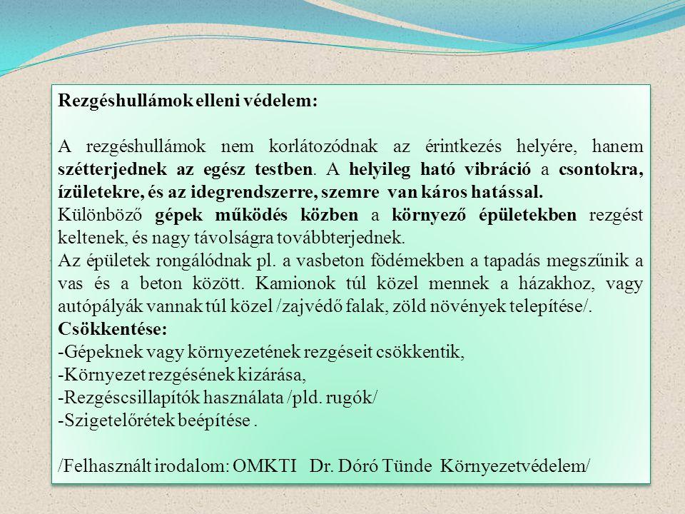 Rezgéshullámok elleni védelem: A rezgéshullámok nem korlátozódnak az érintkezés helyére, hanem szétterjednek az egész testben. A helyileg ható vibráci