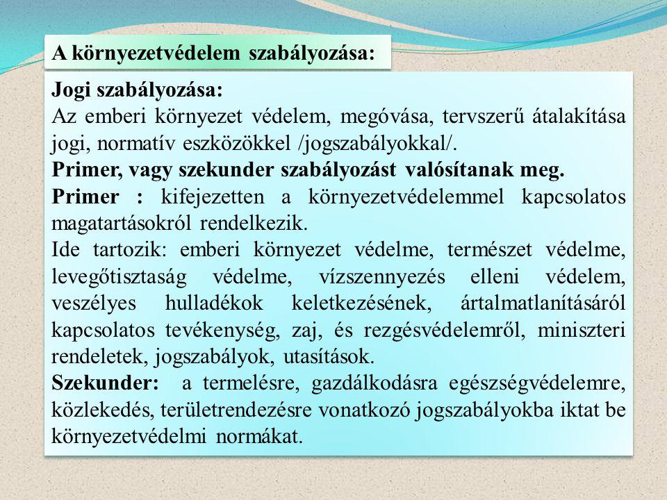 A környezetvédelem szabályozása: Jogi szabályozása: Az emberi környezet védelem, megóvása, tervszerű átalakítása jogi, normatív eszközökkel /jogszabál