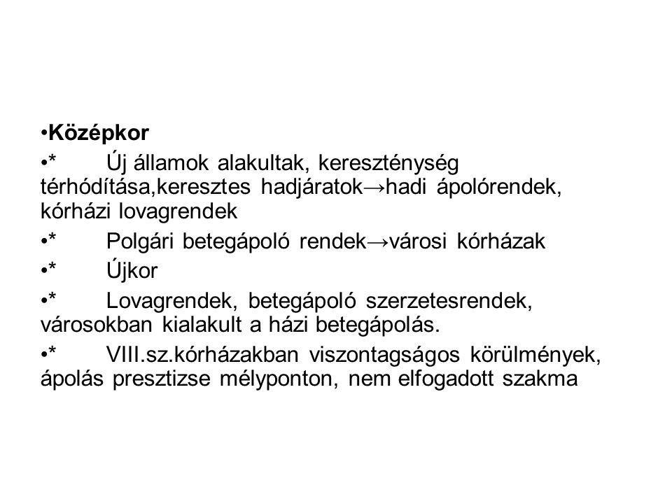 Újkor * Tudomány, orvostudomány fejlődése→érdeklődés a jobb ápolás, ápolóképzés iránt * FLORENCE NIGHTINGALE (1820-1910) * Magyarország * Reformkor: Bugát Pál, 1948.