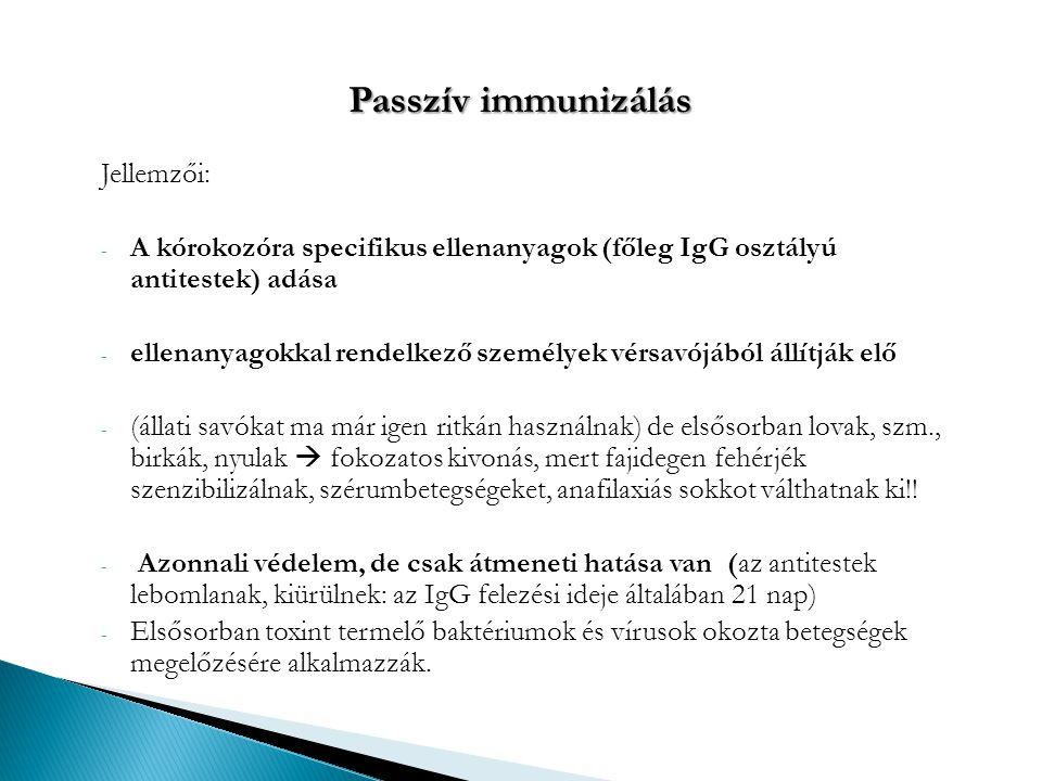 Megbetegedési veszély esetén alkalmazhatók -Diphteria - totokgyík -Morbilli – kanyaró -Pertussis - szamárköühögés -Rabies - veszettség -Rubeola elleni passzív -Tetanus -Typhus abdominalis és egyéb szalmonellózisok -Varicella -báránhimlő -Hepatitis B oltás szükségessége az egészségügyi dolgozóknál: a vér, szövetnedvek és testváladékok közvetítik.