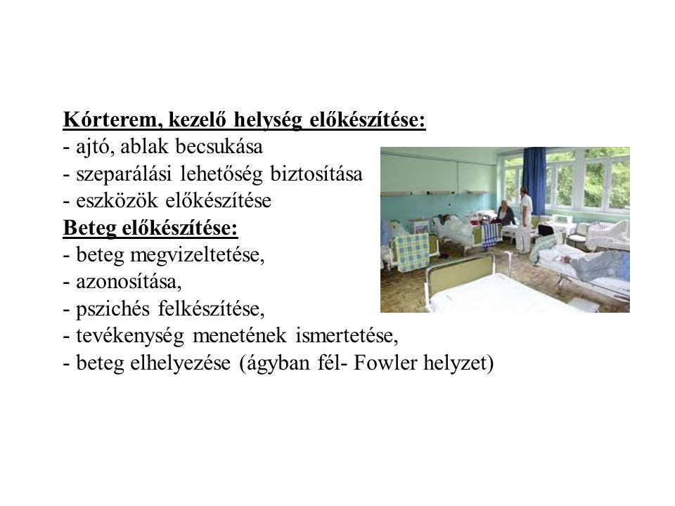 Kórterem, kezelő helység előkészítése: - ajtó, ablak becsukása - szeparálási lehetőség biztosítása - eszközök előkészítése Beteg előkészítése: - beteg