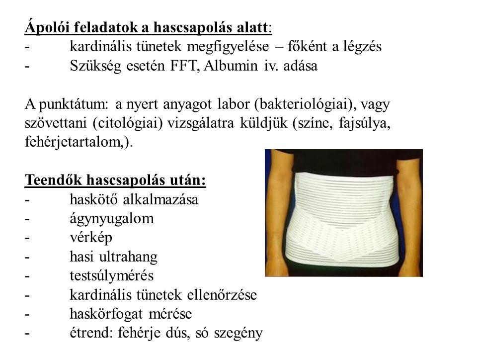 Ápolói feladatok a hascsapolás alatt: - kardinális tünetek megfigyelése – főként a légzés - Szükség esetén FFT, Albumin iv. adása A punktátum: a nyert