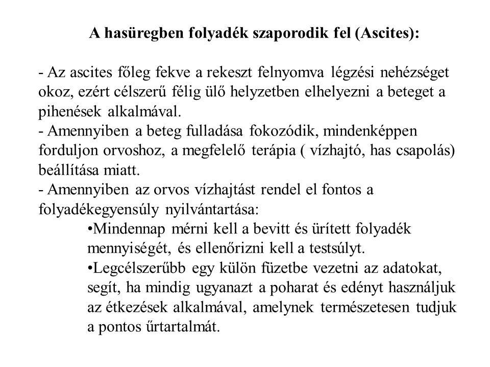 A hasüregben folyadék szaporodik fel (Ascites): - Az ascites főleg fekve a rekeszt felnyomva légzési nehézséget okoz, ezért célszerű félig ülő helyzet