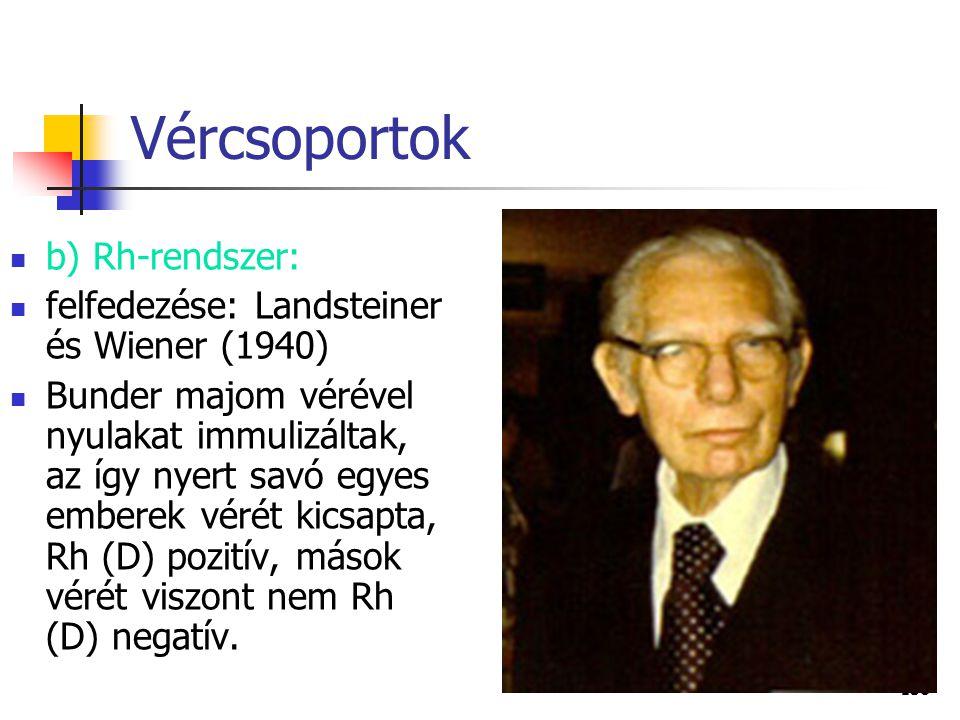 138 Vércsoportok b) Rh-rendszer: felfedezése: Landsteiner és Wiener (1940) Bunder majom vérével nyulakat immulizáltak, az így nyert savó egyes emberek