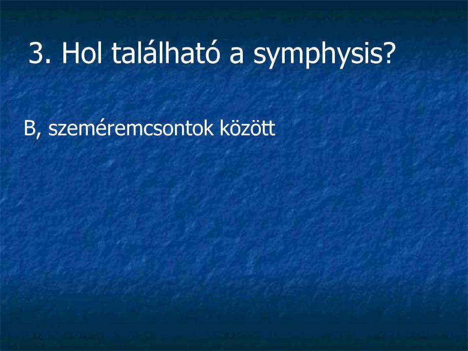 3. Hol található a symphysis? B, szeméremcsontok között