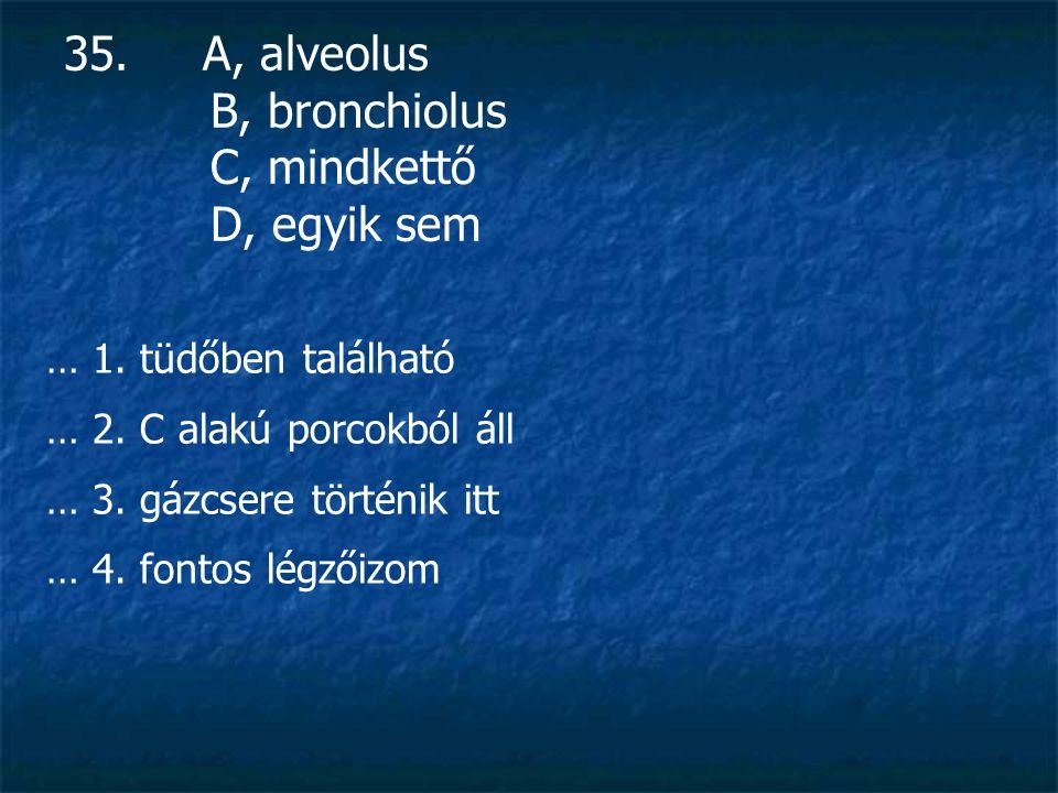 35.A, alveolus B, bronchiolus C, mindkettő D, egyik sem … 1.