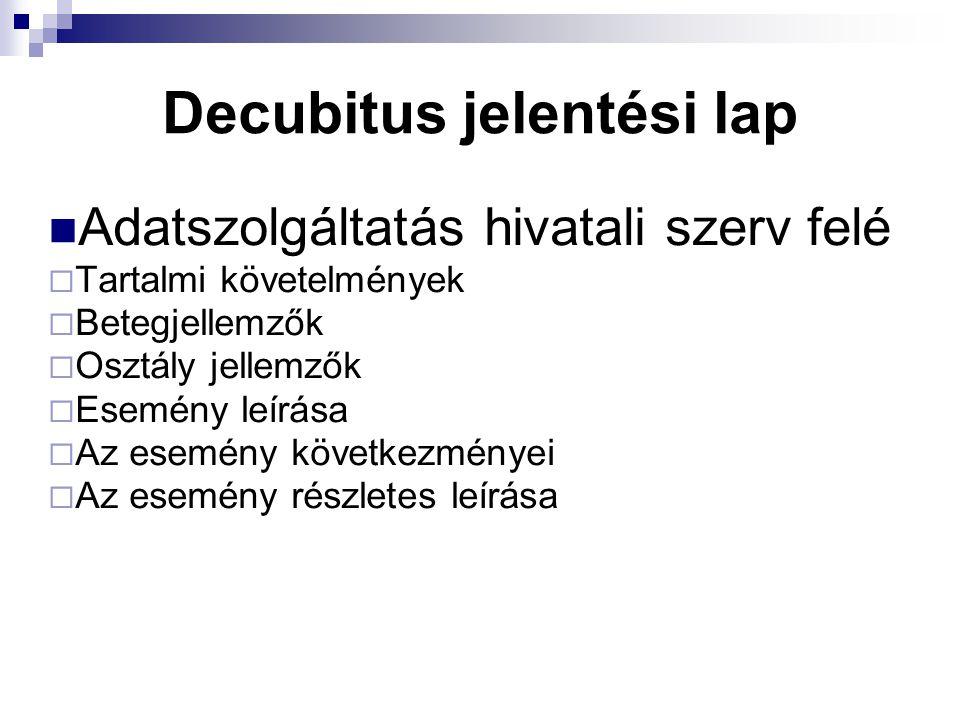 Decubitus jelentési lap Adatszolgáltatás hivatali szerv felé  Tartalmi követelmények  Betegjellemzők  Osztály jellemzők  Esemény leírása  Az esem
