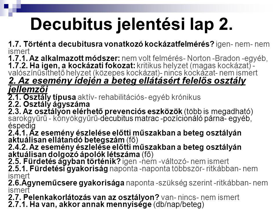 Decubitus jelentési lap 2. 1.7. Történt a decubitusra vonatkozó kockázatfelmérés? igen- nem- nem ismert 1.7.1. Az alkalmazott módszer: nem volt felmér