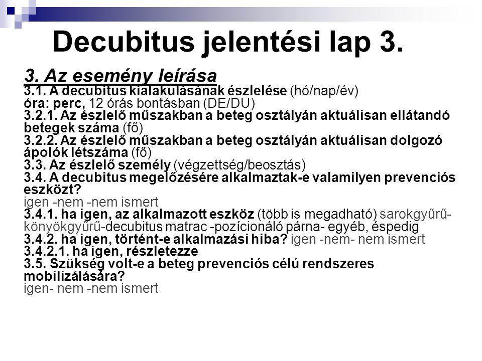 Decubitus jelentési lap 3. 3. Az esemény leírása 3.1. A decubitus kialakulásának észlelése (hó/nap/év) óra: perc, 12 órás bontásban (DE/DU) 3.2.1. Az