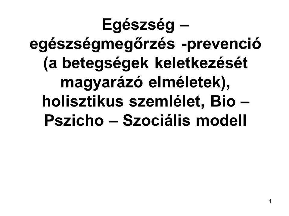1 Egészség – egészségmegőrzés -prevenció (a betegségek keletkezését magyarázó elméletek), holisztikus szemlélet, Bio – Pszicho – Szociális modell