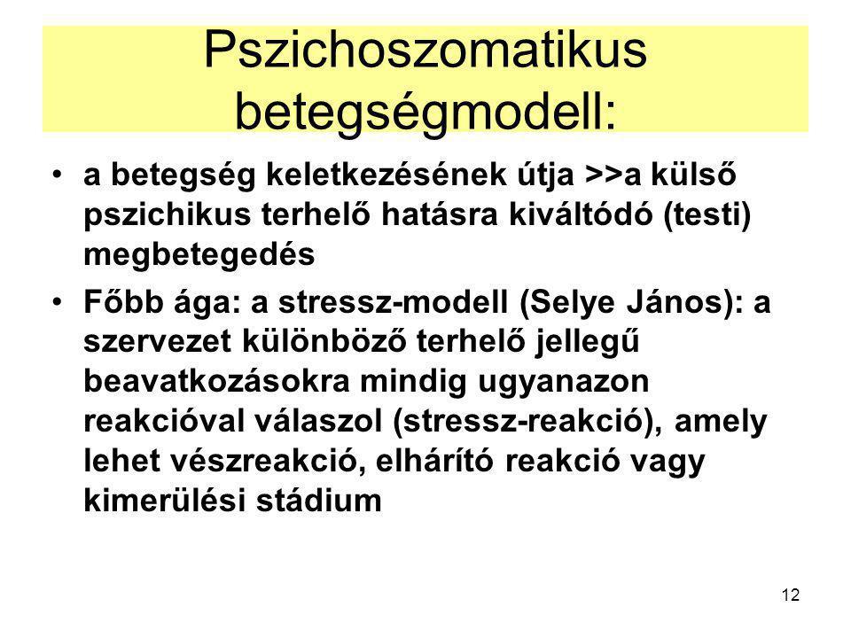 12 Pszichoszomatikus betegségmodell: a betegség keletkezésének útja >>a külső pszichikus terhelő hatásra kiváltódó (testi) megbetegedés Főbb ága: a stressz-modell (Selye János): a szervezet különböző terhelő jellegű beavatkozásokra mindig ugyanazon reakcióval válaszol (stressz-reakció), amely lehet vészreakció, elhárító reakció vagy kimerülési stádium
