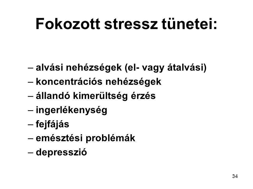 34 Fokozott stressz tünetei: –alvási nehézségek (el- vagy átalvási) –koncentrációs nehézségek –állandó kimerültség érzés –ingerlékenység –fejfájás –em