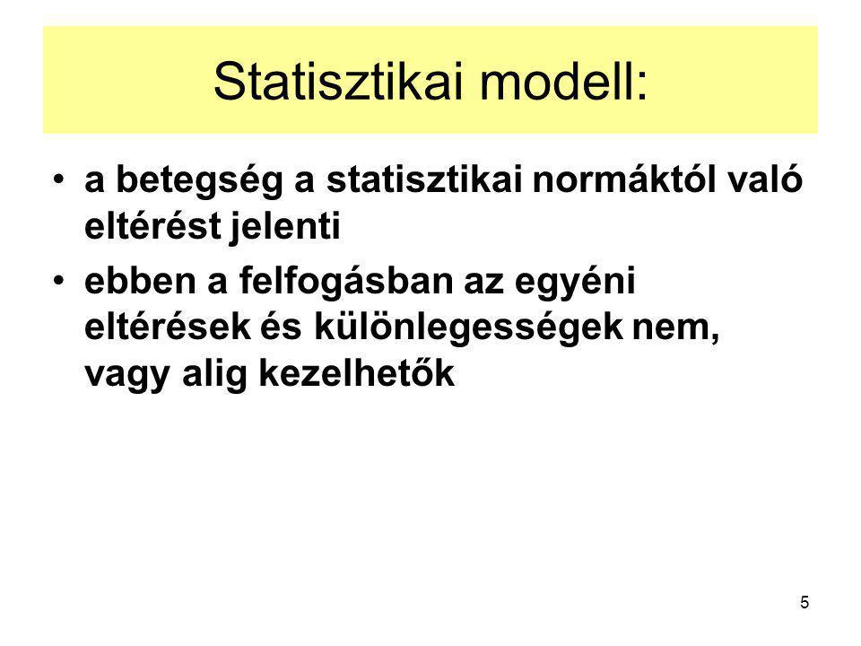5 Statisztikai modell: a betegség a statisztikai normáktól való eltérést jelenti ebben a felfogásban az egyéni eltérések és különlegességek nem, vagy alig kezelhetők