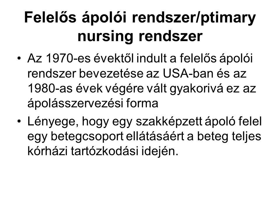 Felelős ápolói rendszer/ptimary nursing rendszer Az 1970-es évektől indult a felelős ápolói rendszer bevezetése az USA-ban és az 1980-as évek végére v