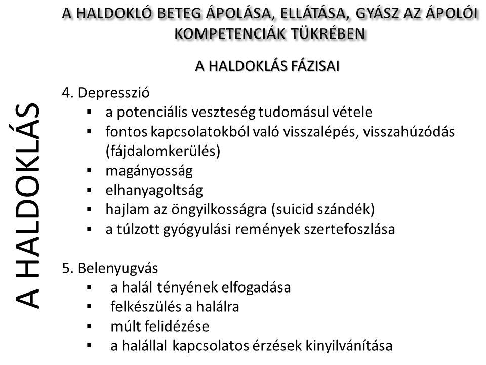 A HALDOKLÁS 4. Depresszió  a potenciális veszteség tudomásul vétele  fontos kapcsolatokból való visszalépés, visszahúzódás (fájdalomkerülés)  magán