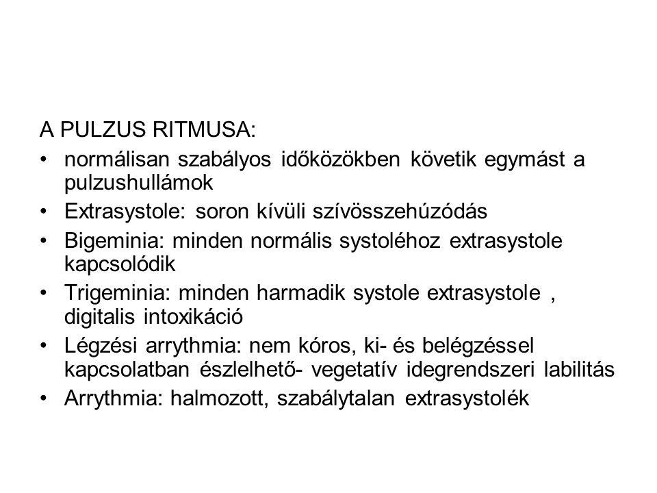 A PULZUS RITMUSA: normálisan szabályos időközökben követik egymást a pulzushullámok Extrasystole: soron kívüli szívösszehúzódás Bigeminia: minden norm