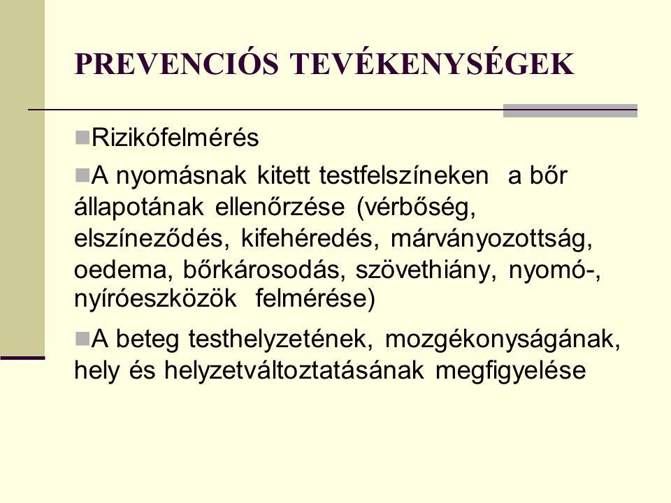 PREVENCIÓS TEVÉKENYSÉGEK Rizikófelmérés A nyomásnak kitett testfelszíneken a bőr állapotának ellenőrzése (vérbőség, elszíneződés, kifehéredés, márványozottság, oedema, bőrkárosodás, szövethiány, nyomó-, nyíróeszközök felmérése) A beteg testhelyzetének, mozgékonyságának, hely és helyzetváltoztatásának megfigyelése