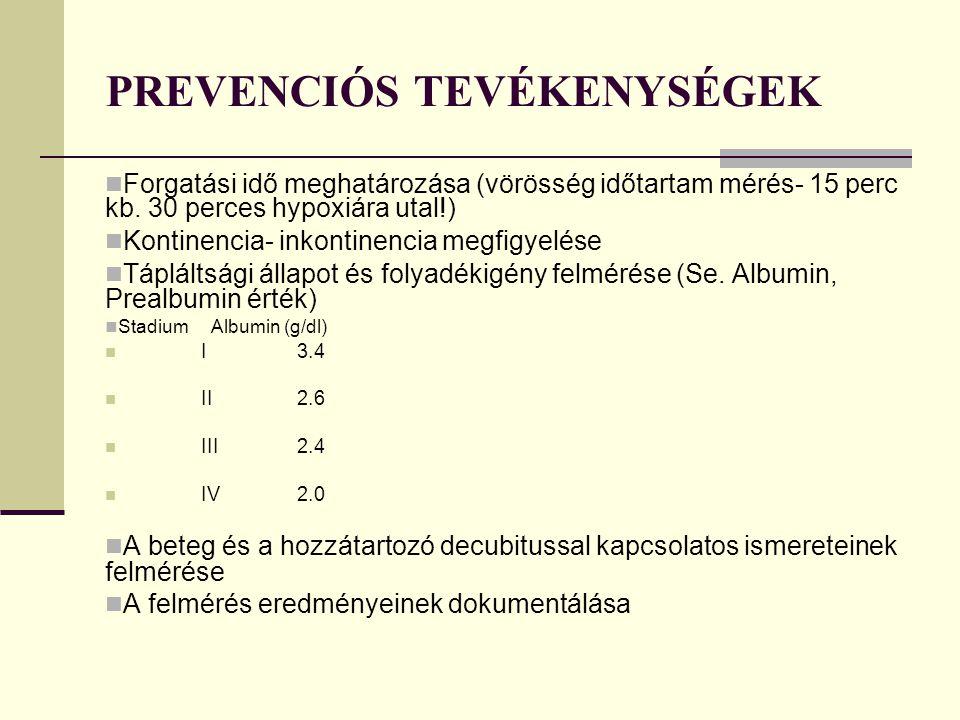 PREVENCIÓS TEVÉKENYSÉGEK Forgatási idő meghatározása (vörösség időtartam mérés- 15 perc kb.