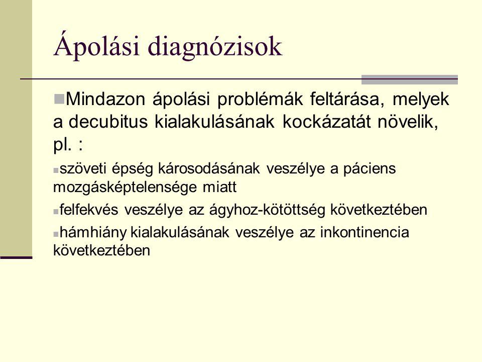 Ápolási diagnózisok Mindazon ápolási problémák feltárása, melyek a decubitus kialakulásának kockázatát növelik, pl.