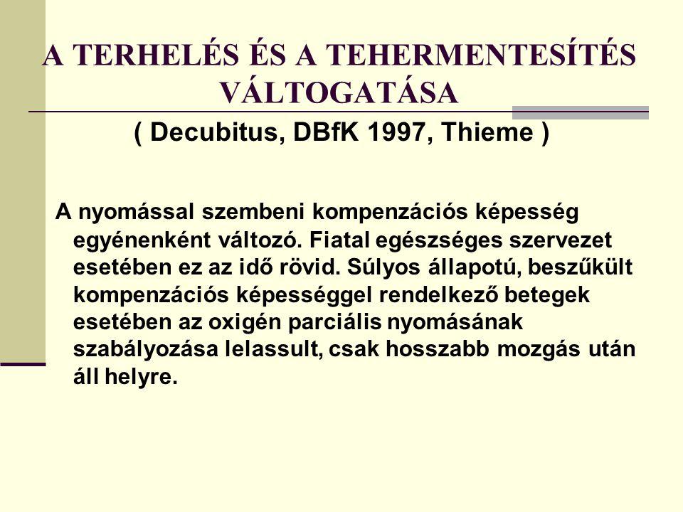 A TERHELÉS ÉS A TEHERMENTESÍTÉS VÁLTOGATÁSA ( Decubitus, DBfK 1997, Thieme ) A nyomással szembeni kompenzációs képesség egyénenként változó.