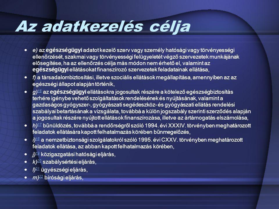 Az adatkezelés célja e) az egészségügyi adatot kezelő szerv vagy személy hatósági vagy törvényességi ellenőrzését, szakmai vagy törvényességi felügyel