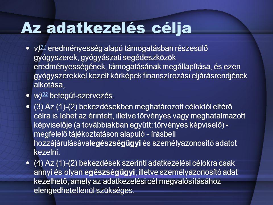 Az adatkezelés célja v) 31 eredményesség alapú támogatásban részesülő gyógyszerek, gyógyászati segédeszközök eredményességének, támogatásának megállap