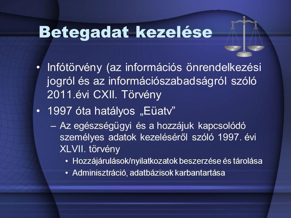 """Betegadat kezelése Infótörvény (az információs önrendelkezési jogról és az információszabadságról szóló 2011.évi CXII. Törvény 1997 óta hatályos """"Eüat"""