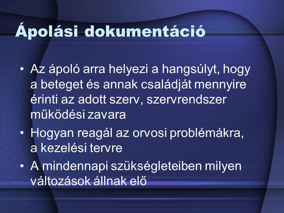 Ápolási dokumentáció Az ápoló arra helyezi a hangsúlyt, hogy a beteget és annak családját mennyire érinti az adott szerv, szervrendszer működési zavar