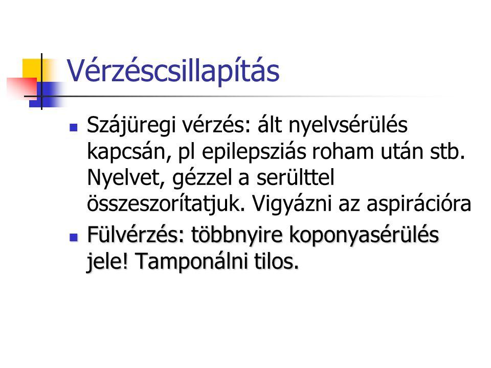 Vérzéscsillapítás Szájüregi vérzés: ált nyelvsérülés kapcsán, pl epilepsziás roham után stb.